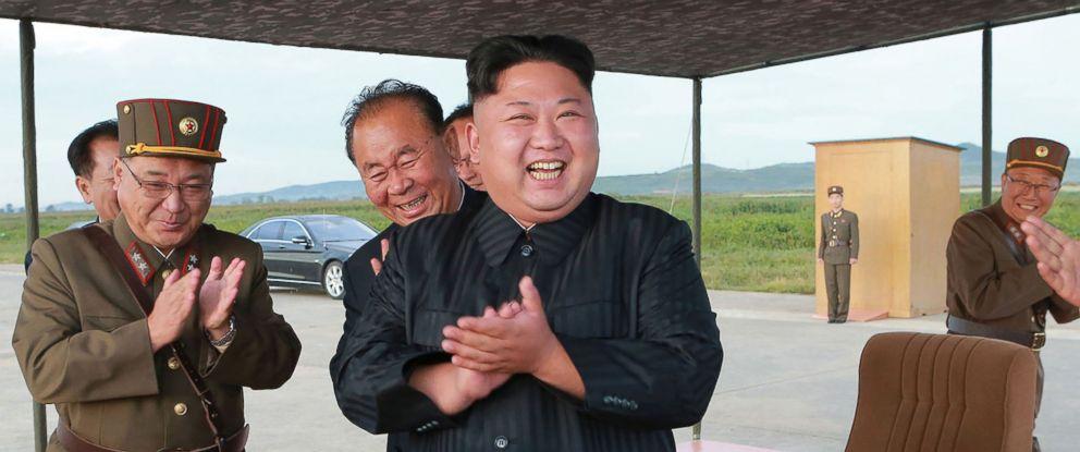 PHOTO: North Korean leader Kim Jong-Un (C) inspecting a launching drill of the medium-and-long range strategic ballistic rocket Hwasong-12 at an undisclosed location, Sept. 16, 2017.
