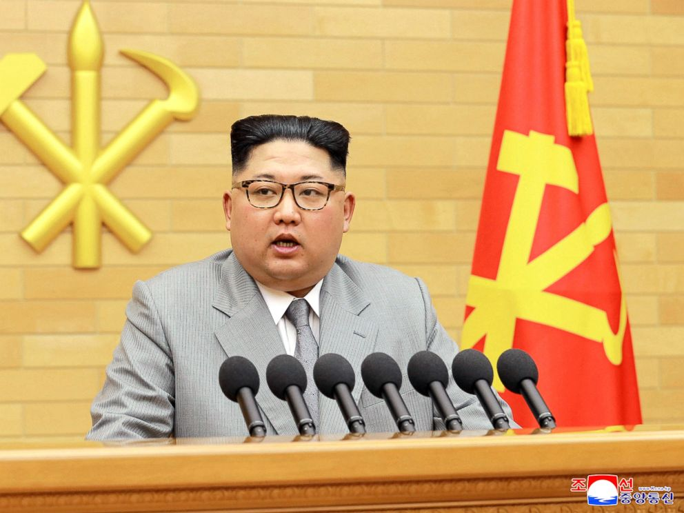 Kim Jong Un delivers his New Years speech at an undisclosed place in North Korea Jan. 1 2018 in this