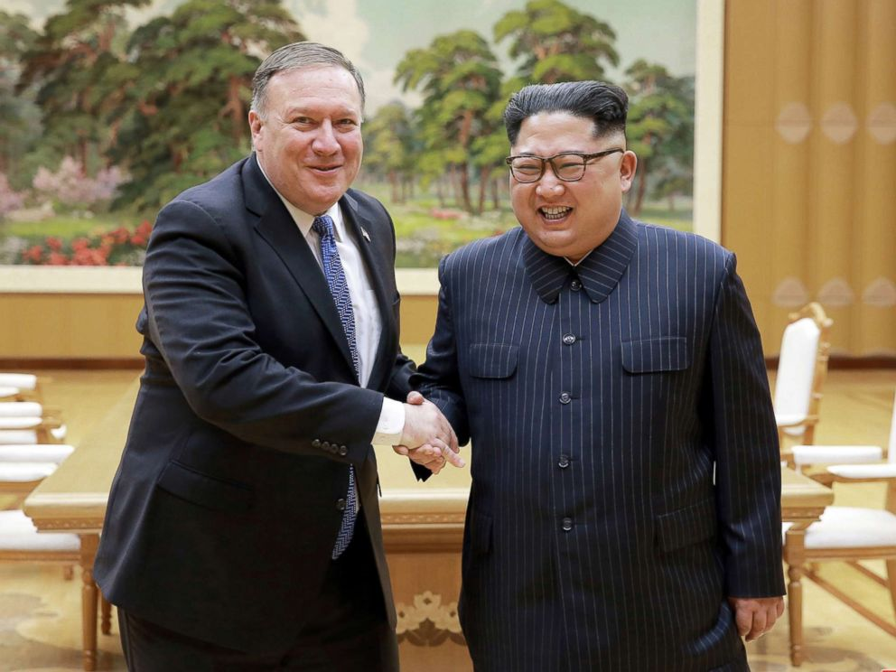 PHOTO: North Korean leader Kim Jong Un meets with Secretary of State Mike Pompeo in this May 9, 2018 photo released by North Koreas Korean Central News Agency in Pyongyang.