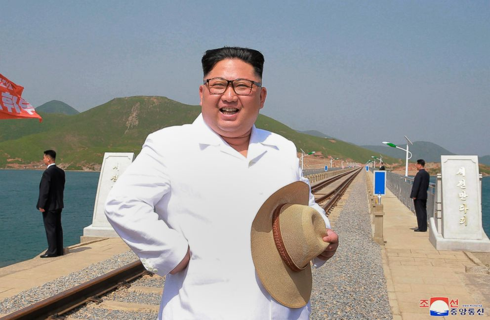 PHOTO: North Korean leader Kim Jong Un inspects the completed Koam-Tapchon Railways in Gangwon-do, North Korea, in a photo released by the North Korean government on May 25, 2018.