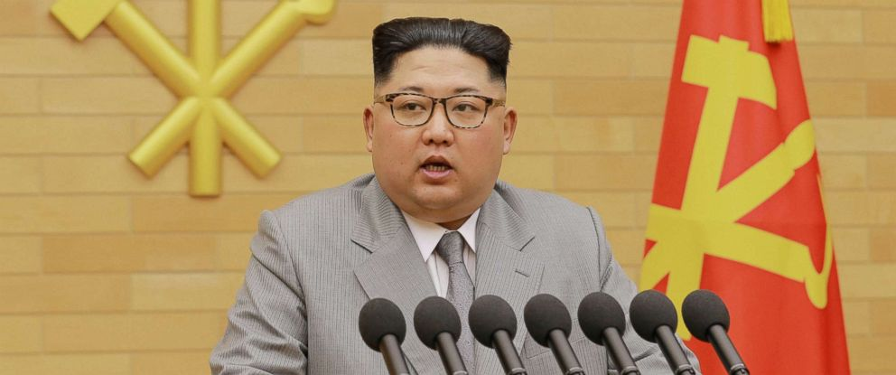 PHOTO: North Koreas leader Kim Jong Un speaks during a New Years Day speech in this photo released by North Koreas Korean Central News Agency (KCNA) in Pyongyang, Jan. 1, 2018.