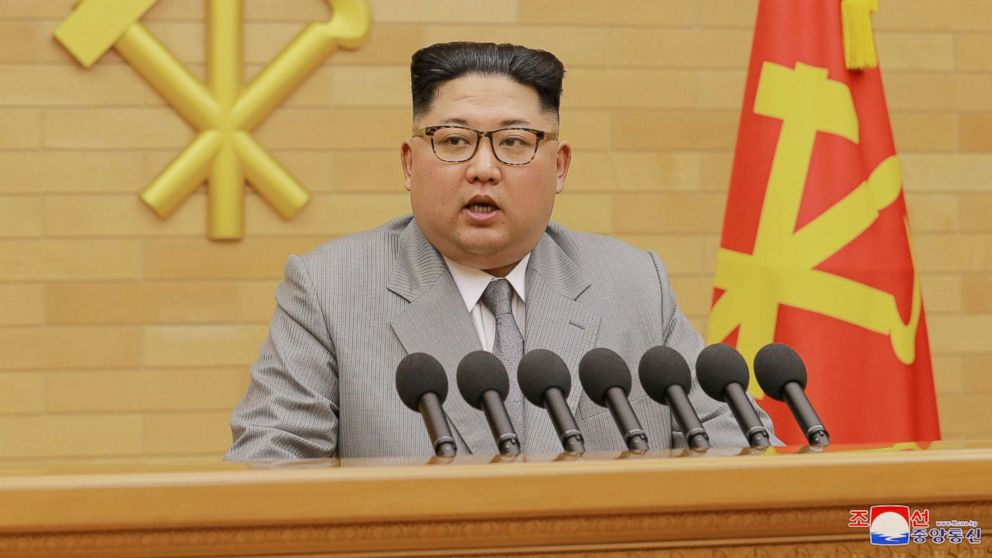 North Korea's leader Kim Jong Un speaks during a New Year's Day speech in this photo released by North Korea's Korean Central News Agency (KCNA) in Pyongyang, Jan. 1, 2018.