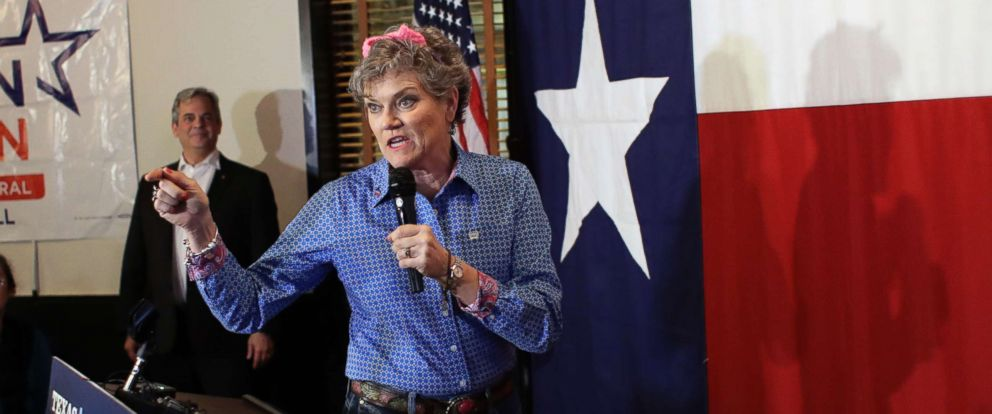 PHOTO: Wearing pink ears, Kim Olson, Democratic candidate for Texas Agriculture Commissioner, addresses supporters during a Democratic watch party following the Texas primary election, March 6, 2018, in Austin, Texas.