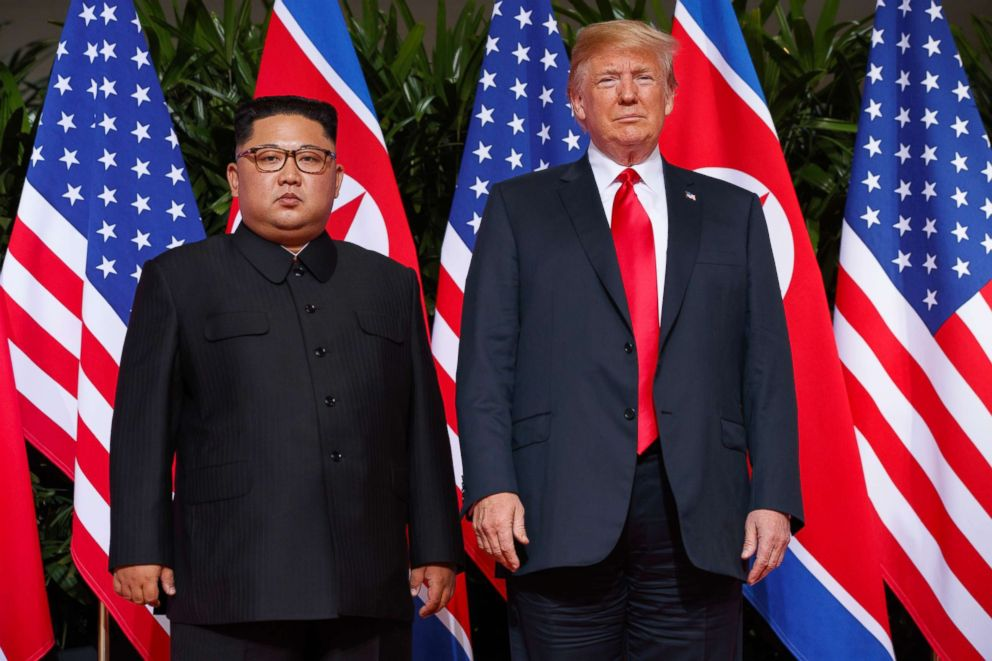 PHOTO: In this June. 12, 2018, file photo, U.S. President Donald Trump meets with North Korean leader Kim Jong Un on Sentosa Island, in Singapore.