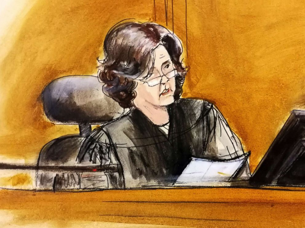 PHOTO: In this courtroom sketch, U.S. District Judge Kimba Wood presides over a federal court hearing, April 16, 2018, in New York.