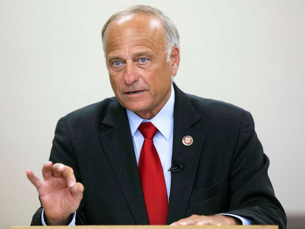 PHOTO: Rep. Steve King (R-IA) speaks during a town hall meeting at the Ericson Public Library, Aug. 13, 2019, in Boone, Iowa.