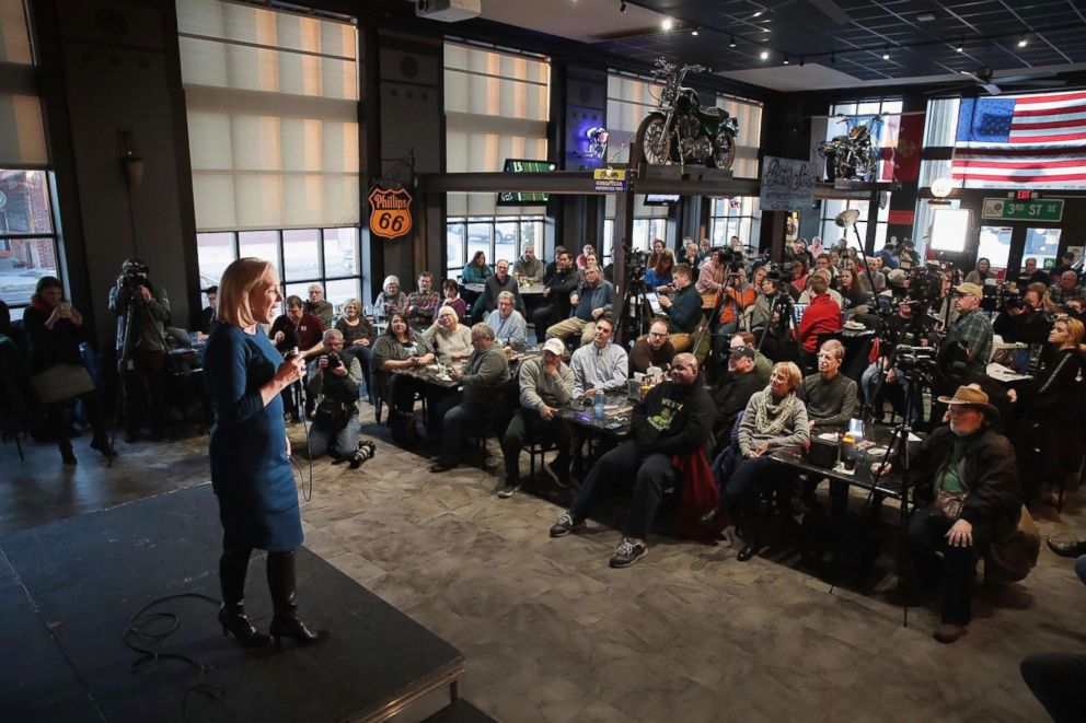 PHOTO: Sen. Kirsten Gillibrand speaks to guests during a campaign stop at the Chrome Horse Saloon on Feb. 18, 2019 in Cedar Rapids, Iowa.