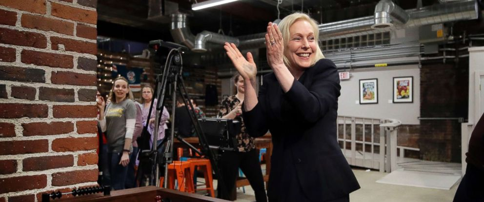 PHOTO: Democratic presidential candidate Sen. Kirsten Gillibrand celebrates her foosball victory at a campaign meet-and-greet, March 15, 2019, at To Share Brewing in Manchester, N.H.