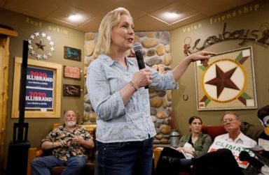 PHOTO: Democratic presidential candidate Sen. Kirsten Gillibrand speaks to local residents at a coffee shop, Saturday, May 25, 2019, in Mason City, Iowa.