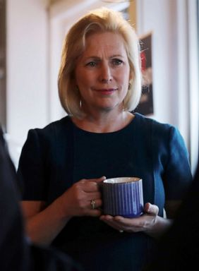 PHOTO: Democratic presidential candidate Sen. Kirsten Gillibrand listens to a question during a campaign stop at a coffee shop in Derry, N.H., May 10, 2019.