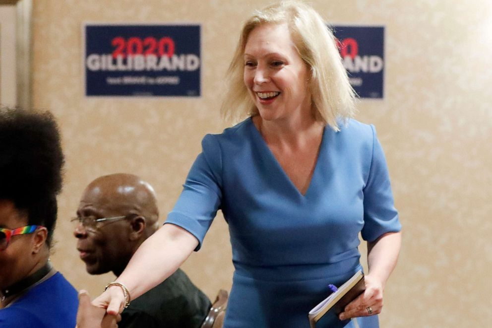 PHOTO: Democratic presidential hopeful Sen. Kirsten Gillibrand, D-N.Y., greets attendees at a roundtable with health care workers during a campaign stop, July 11, 2019, in Pittsburgh.