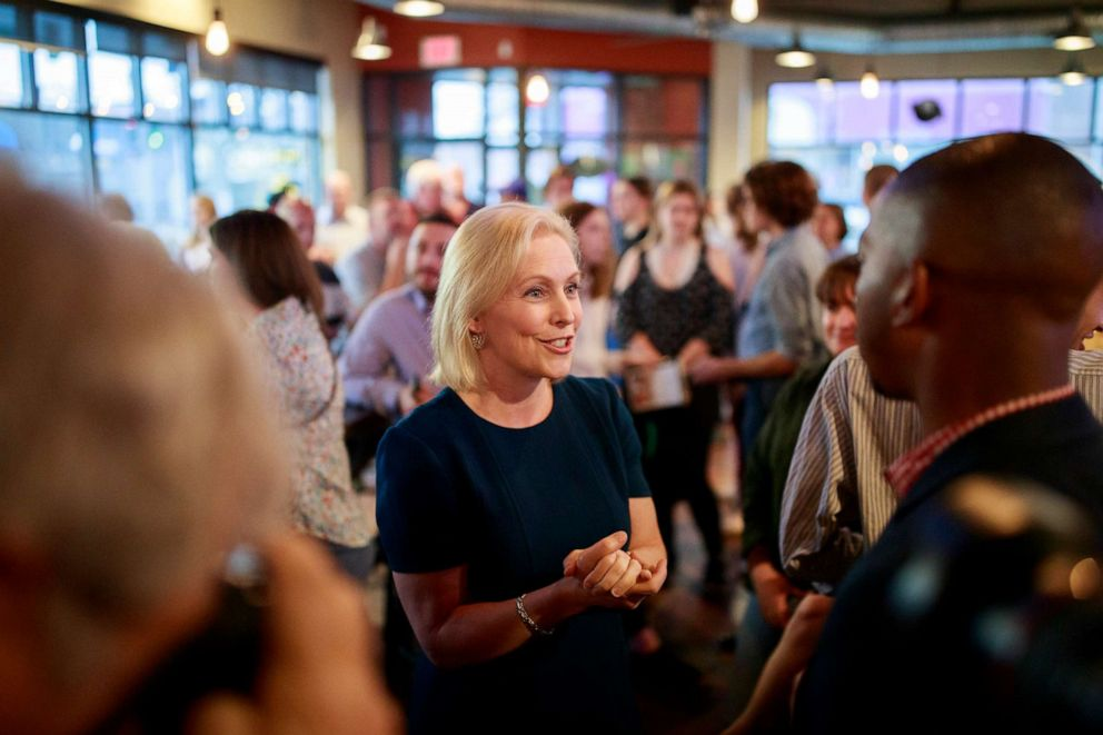 PHOTO: Sen. Kirsten Gillibrand speaks with Drake University Democrats at Papa Kenos Pizzeria in Des Moines, Iowa, April 17, 2019.