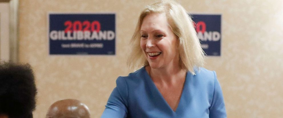 PHOTO: Democratic presidential hopeful Sen. Kirsten Gillibrand, D-N.Y., greets attendees at a roundtable with health care workers during a campaign stop Thursday, July 11, 2019, in Pittsburgh.