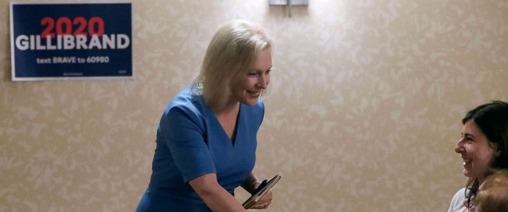 PHOTO: Democratic presidential hopeful Sen. Kirsten Gillibrand greets attendees of a roundtable with health care workers during a campaign stop, July 11, 2019, in Pittsburgh.