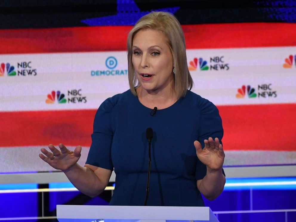 PHOTO: Kristen Gillibrand participates in the second night of the first 2020 democratic presidential debate at the Adrienne Arsht Center for the Performing Arts in Miami, June 27, 2019.