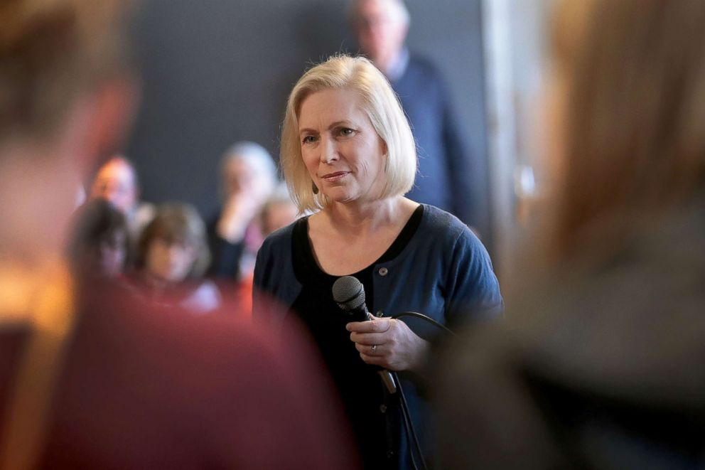 PHOTO: Sen. Kirsten Gillibrand speaks to guests during a campaign stop, March 19, 2019, in Dubuque, Iowa.