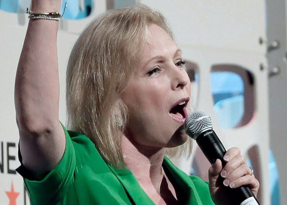 PHOTO: Democratic presidential candidate Kirsten Gillibrand waves as she leaves the stage after speaking to a forum sponsored by Netroots, Saturday, July 13, 2019 at the Pennsylvania Convention Center in Philadelphia.