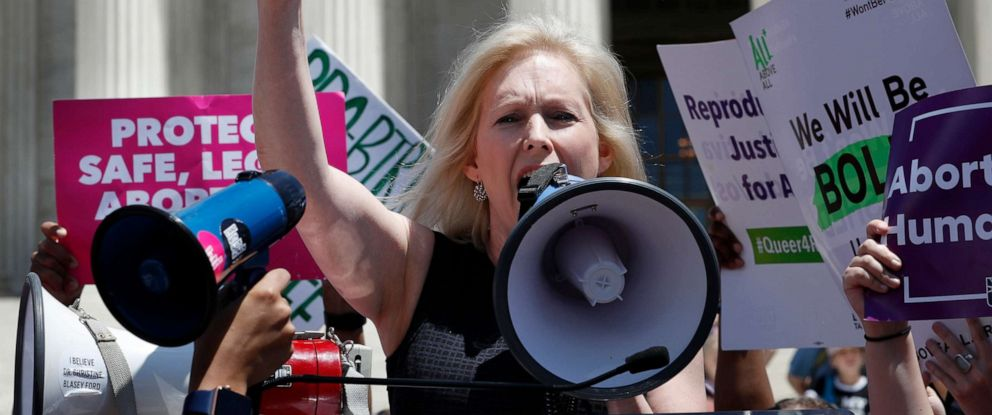 PHOTO: Democratic presidential candidate Sen. Kirsten Gillibrand, D-N.Y., speaks during a protest against abortion bans, May 21, 2019, outside the Supreme Court in Washington.
