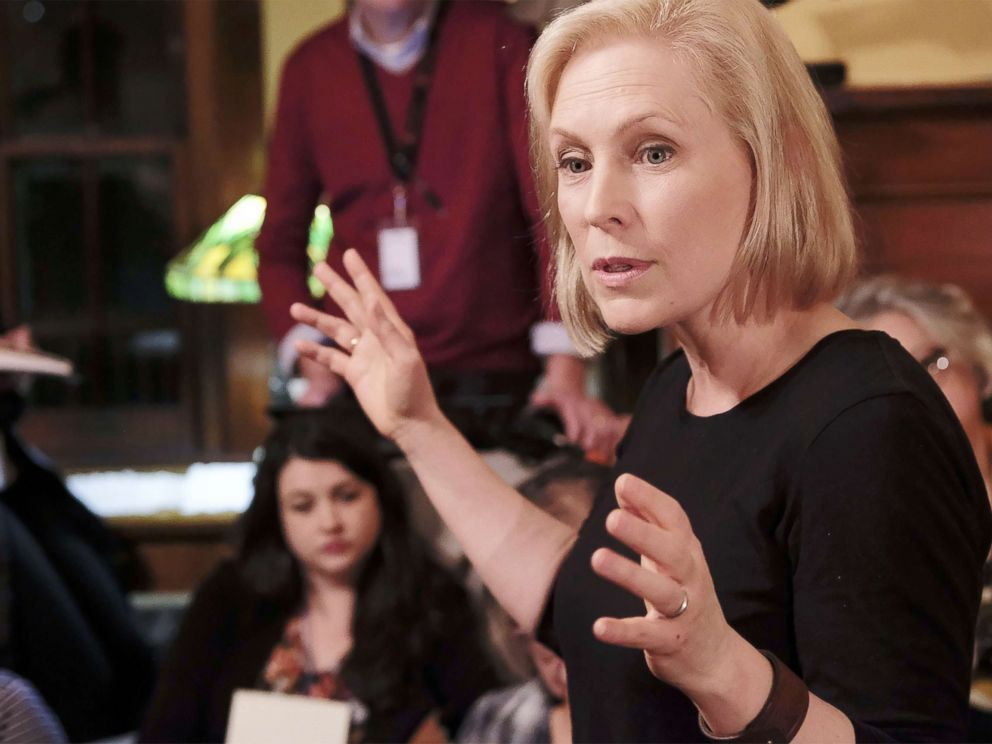 PHOTO: Sen. Kirsten Gillibrand talks during a Woodbury County, Iowa, Democrats first time meet and greet in Sioux City, Iowa, on Jan. 18, 2019, as she explores running for the office of the President.
