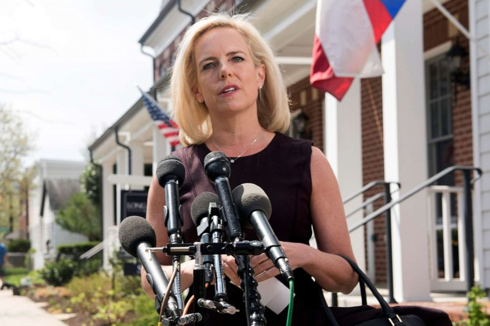PHOTO: Homeland Security Secretary Kirstjen Nielsen talks outside her home in Alexandria, Va., April 8, 2019.