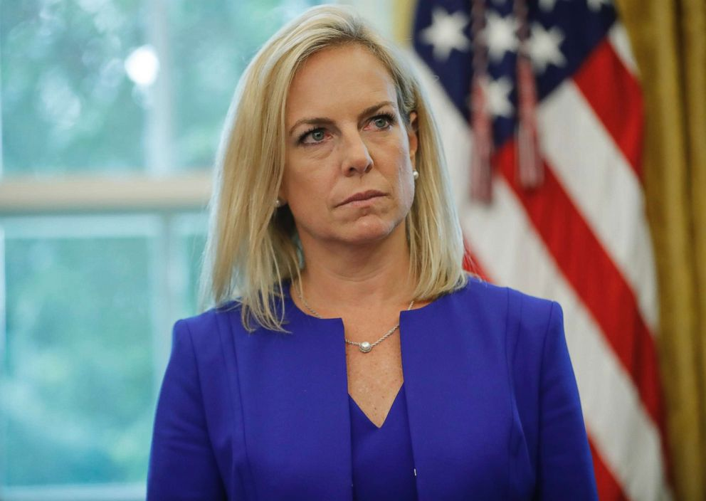 PHOTO: Homeland Security Secretary Kirstjen Nielsen during an event in the Oval Office of the White House in Washington, June 20, 2018.