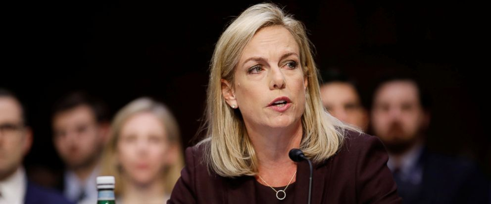PHOTO: Homeland Security Secretary Kirstjen Nielsen testifies before the Senate Intelligence Committee about election security on Capitol Hill in Washington, March 21, 2018.