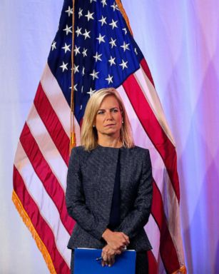 PHOTO: Secretary of Homeland Security Kirstjen Nielsen stands onstage as she is introduced to speak at the National Sheriffs Association convention in New Orleans, June 18, 2018.