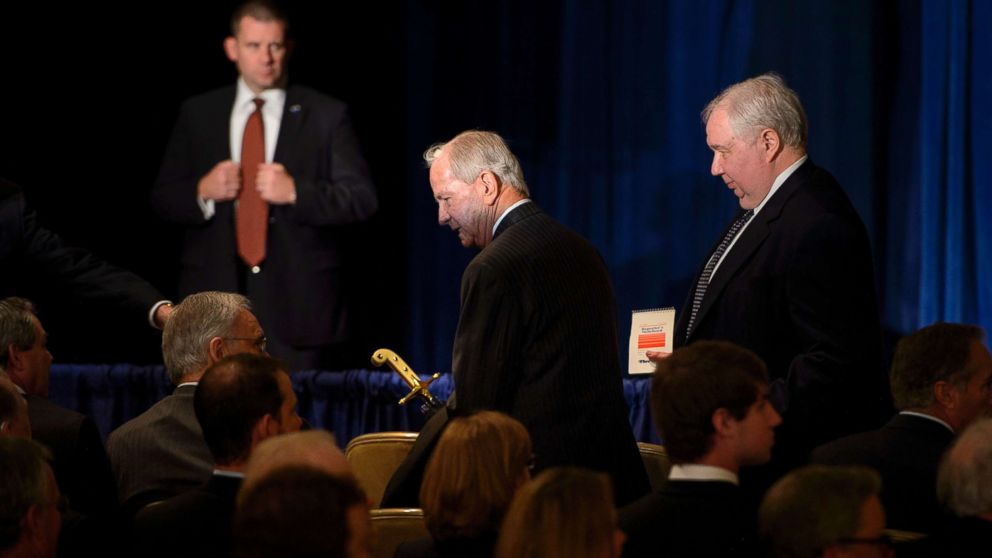 Former National Security Advisor Robert Carl McFarlane and Russian Ambassador to the U.S. Sergey Kislyak,right, arrive for a speech on foreign policy by Donald Trump at the Mayflower Hotel in Washington, D.C.,  April 27, 2016.