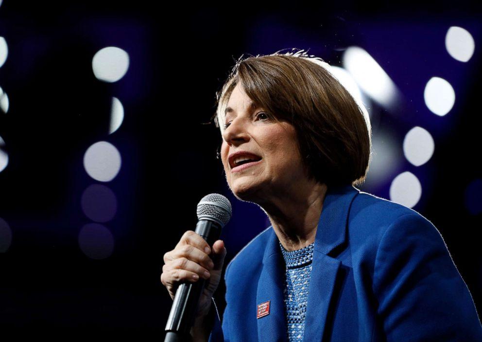 PHOTO: Democratic presidential candidate Sen. Amy Klobuchar speaks at the Presidential Gun Sense Forum, Saturday, Aug. 10, 2019, in Des Moines, Iowa.
