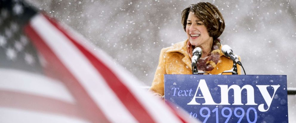 PHOTO: Sen. Amy Klobuchar (D-MN) announces her presidential bid, Feb. 10, 2019 in Minneapolis.