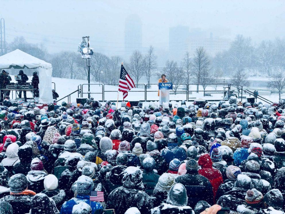 PHOTO: Senator Amy Klobuchar (D-MN) announces her candidacy for president, Feb. 10, 2019, in Minneapolis.