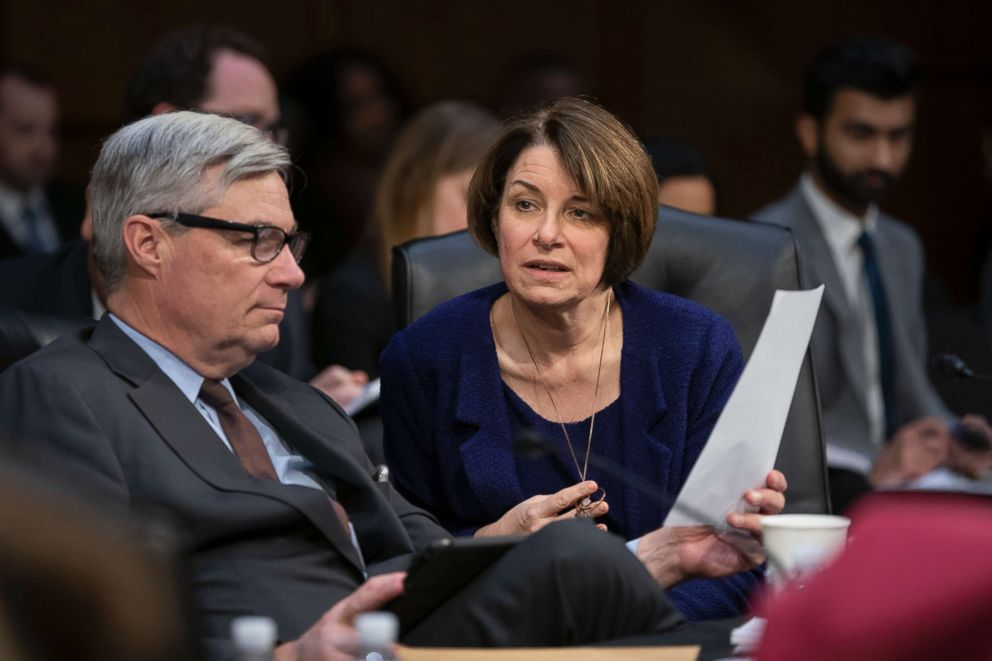 PHOTO: Senate Judiciary Committee member Sen. Amy Klobuchar, D-Minn. prepares to vote against advancing William Barrs nomination for attorney general, as the panel meets on Capitol Hill, Feb. 7, 2019.