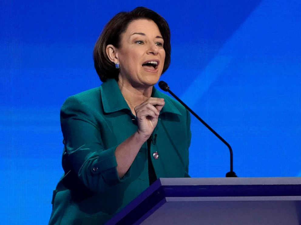 PHOTO: Senator Amy Klobuchar speaks during the 2020 Democratic presidential debate in Houston, Texas, Sept. 12, 2019.