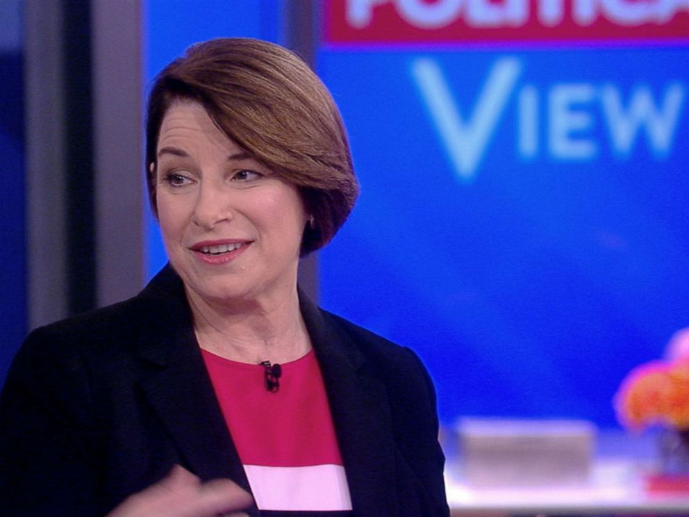 PHOTO: Senator and 2020 presidential candidate, Amy Klobuchar appears on ABCs The View, May 17, 2019.