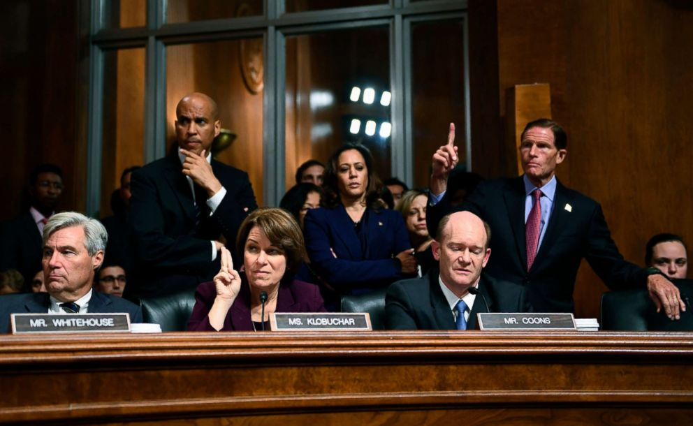 PHOTO: Democratic Senate Judiciary Committee members, left to right, Sheldon Whitehouse, Cory Booker, Amy Klobuchar, Kamala Harris, Christopher Coons, and Richard Blumenthal look on during a hearing on Capitol Hill in Washington on Sept. 28, 2018.