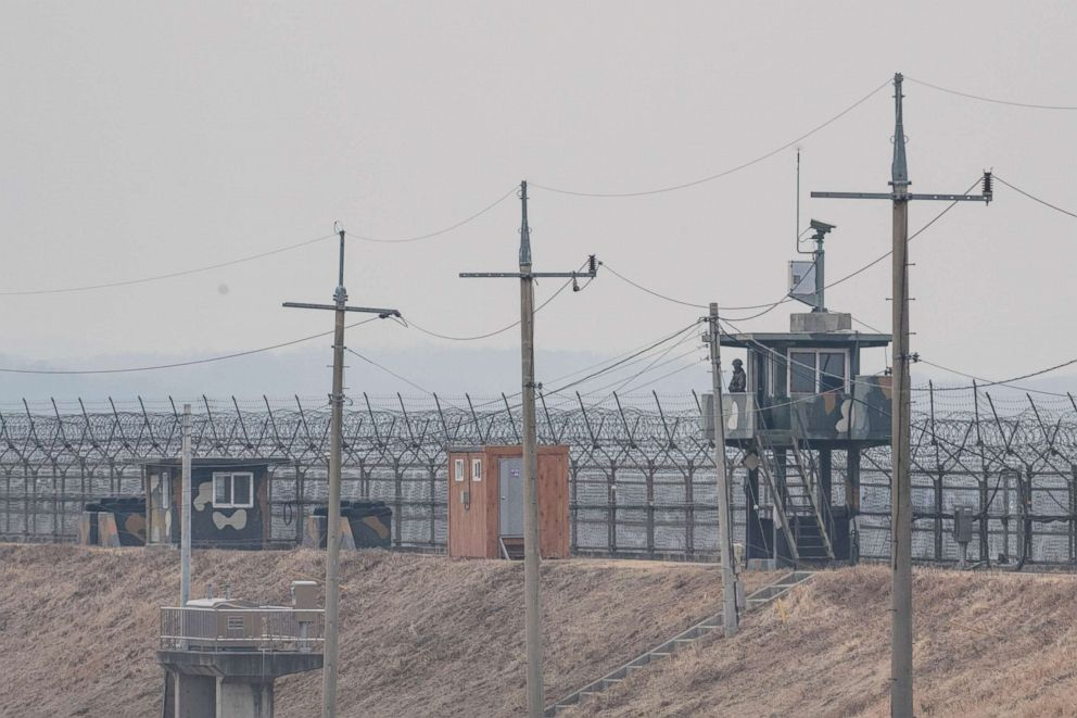 PHOTO: A South Korean border post is seen along the Military Demarcation Line inside the Demilitarized Zone (DMZ), in Gyeonggi-do, South Korea, Feb. 27, 2018.