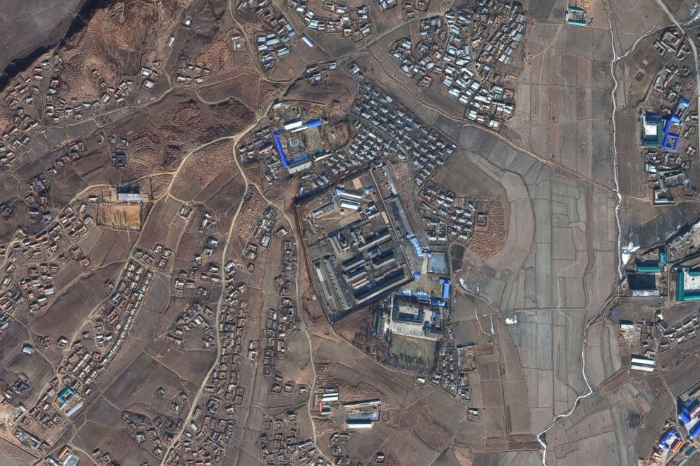 PHOTO: DigitalGlobe satellite imagery of Sinuiju concentration camp in North Korea, Oct. 29, 2016.