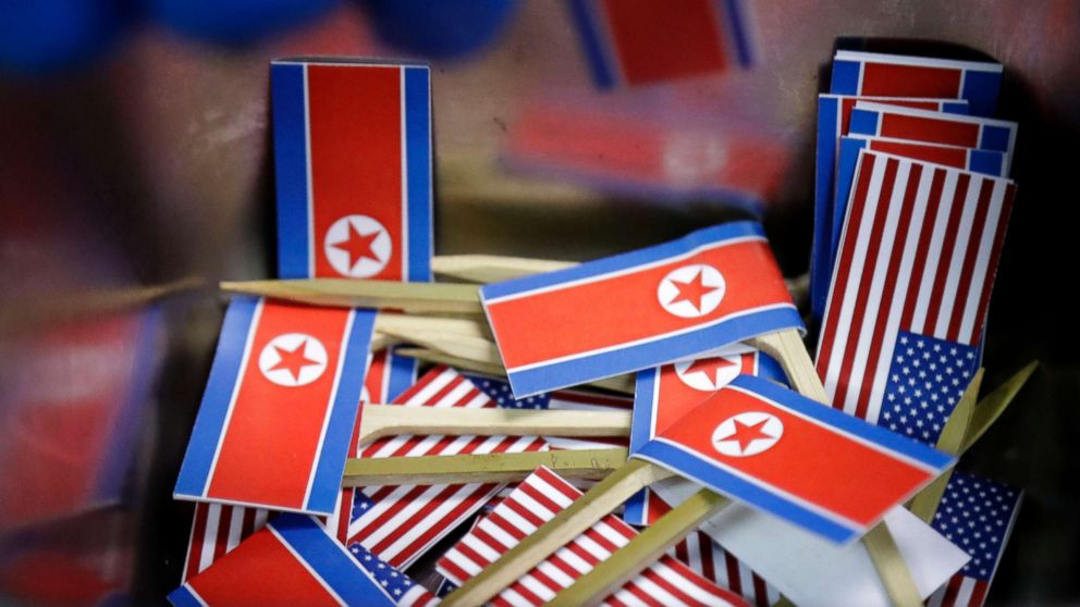 Miniature American and North Korean flags are piled together for use with tacos inspired by the upcoming summit between President Donald Trump and North Korean Leader Kim Jong Un,  June 7, 2018 in Singapore.