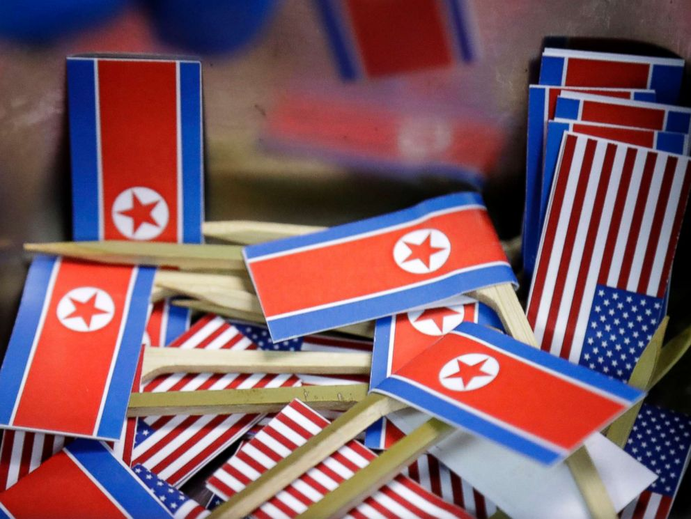 PHOTO: Miniature American and North Korean flags are piled together for use with tacos inspired by the upcoming summit between President Donald Trump and North Korean Leader Kim Jong Un, June 7, 2018 in Singapore.