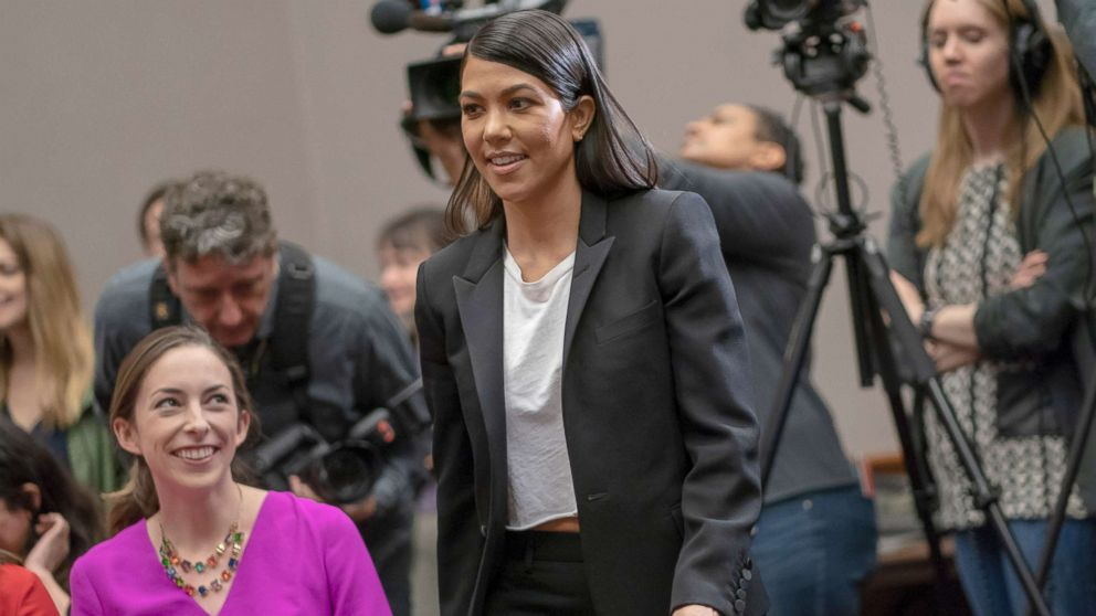 Kourtney Kardashian attends a news conference in support of personal care products legislation, the Personal Care Products Safety Act, introduced a year ago, on Capitol Hill in Washington, April 24, 2018.