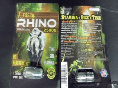 PHOTO: The FDA has warned consumers to avoid male enhancement products labeled with variations of the word rhino, such as Platinum Rhino 25000 and Krazzy Rhino 25000.