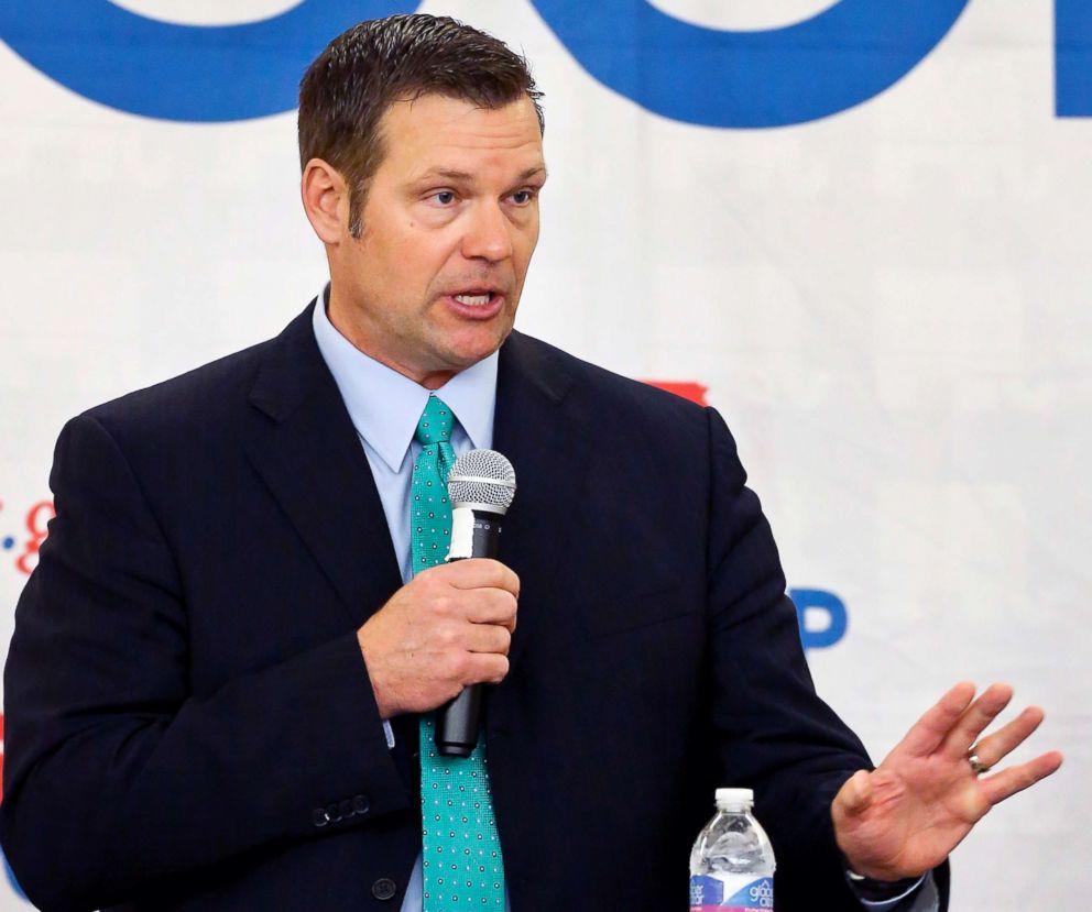 Kansas Secretary of State Kris Kobach speaks during a Republican gubernatorial debate in Atchison, Kan., April 13, 2018.