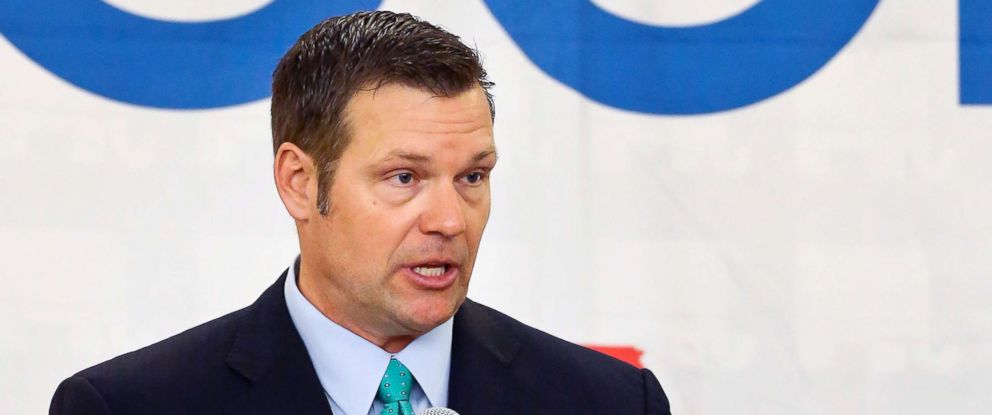 PHOTO: Kansas Secretary of State Kris Kobach speaks during a Republican gubernatorial debate in Atchison, Kan., April 13, 2018.