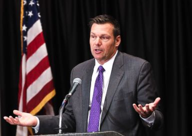 PHOTO: Republican Secretary of State and gubernatorial candidate Kris Kobach answers a question during the Kansas Gubernatorial Debate at the Luncheon for the Kansas Association of Broadcasters, on Oct. 16, 2018 in Wichita, Kan.