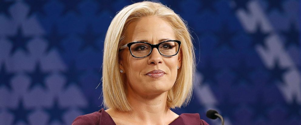 PHOTO: Rep. Kyrsten Sinema is prepped prior to a televised debate with Rep. Martha McSally, Oct. 15, 2018, in Phoenix.