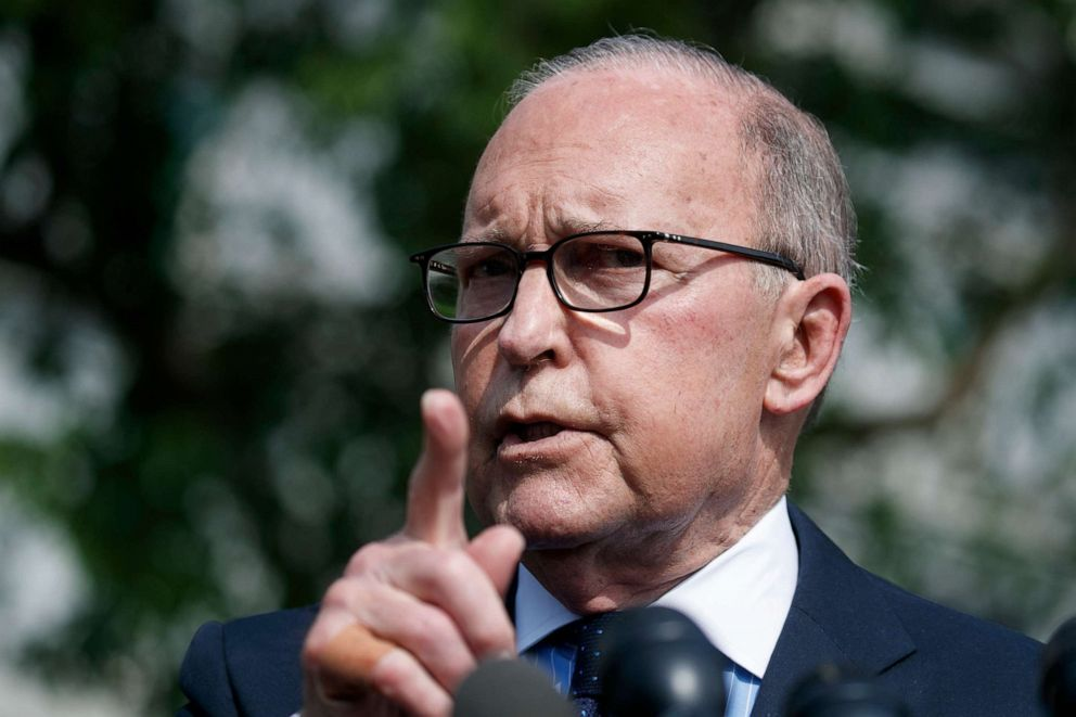 PHOTO: White House chief economic adviser Larry Kudlow speaks with reporters outside the White House, May 2, 2019.