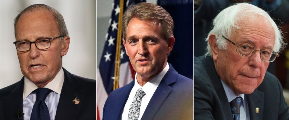 PHOTO: Larry Kudlow, left, Sen. Jeff Flake and Sen. Bernie Sanders.