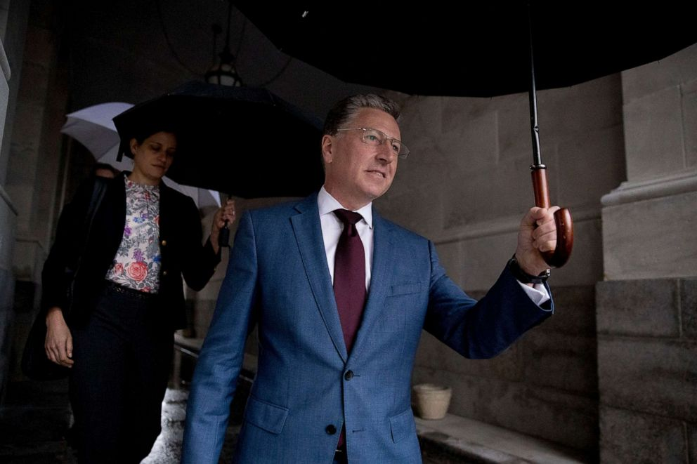 PHOTO: Kurt Volker, a former special envoy to Ukraine, leaves Capitol Hill in Washington, Oct. 16, 2019, after testifying before congressional lawmakers as part of the House impeachment inquiry into President Donald Trump.
