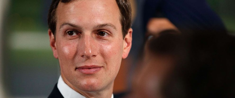 PHOTO: Senior adviser to President Donald Trump, Jared Kushner, attends a dinner meeting with President Donald Trump and business leaders, Aug. 7, 2018, at Trump National Golf Club in Bedminster, N.J.