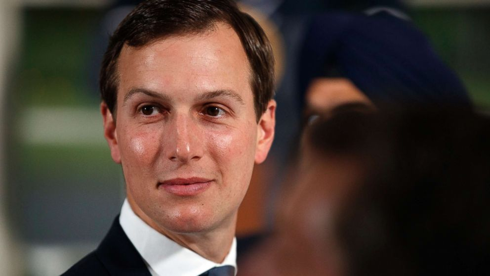 Senior adviser to President Donald Trump, Jared Kushner, attends a dinner meeting with President Donald Trump and business leaders, Aug. 7, 2018, at Trump National Golf Club in Bedminster, N.J.